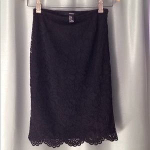 Forever 21 Black Lace Pencil Skirt